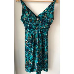 BCBGeneration Blue & Green Floral Dress, Large